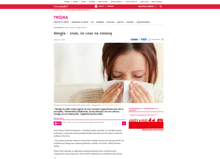 Trójka - Alergia to znak, że czas na zmianę