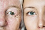 Family generation green eyes genetics concept