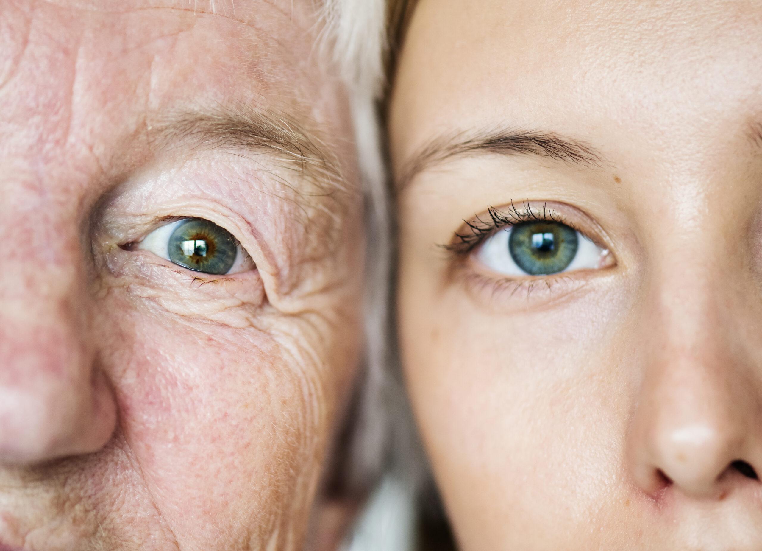 Family generation green eyes genetics concept
